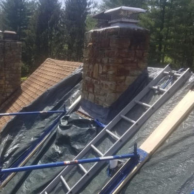 Protecting roof while doing masonry work