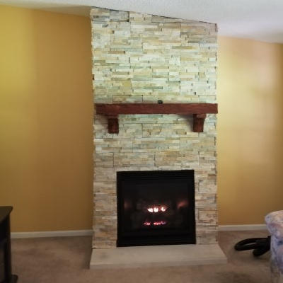 Finished fireplace installation in Indianapolis, Indiana